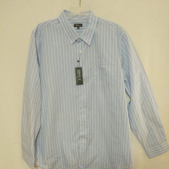 Galaxy Striped Blue Button Down Shirt XL